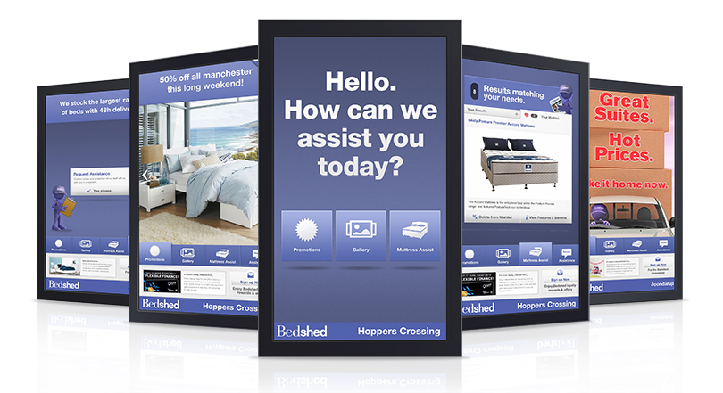 bedshed 42 display mock with media player